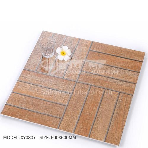 American ceramic tile, retro mold, antique wood grain tile, villa courtyard bumpy non-slip floor   tile-AWMXY0807 600×600mm