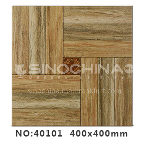American country antique bricks imitation solid wood floor tiles rural style balcony courtyard floor tiles-AWM40101 400x400mm