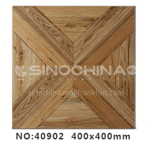 American country antique bricks imitation solid wood floor tiles rural style balcony courtyard   floor tiles-AWM40102 400x400mm