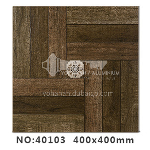 American country antique bricks imitation solid wood floor tiles rural style balcony courtyard   floor tiles-AWM40103 400x400mm
