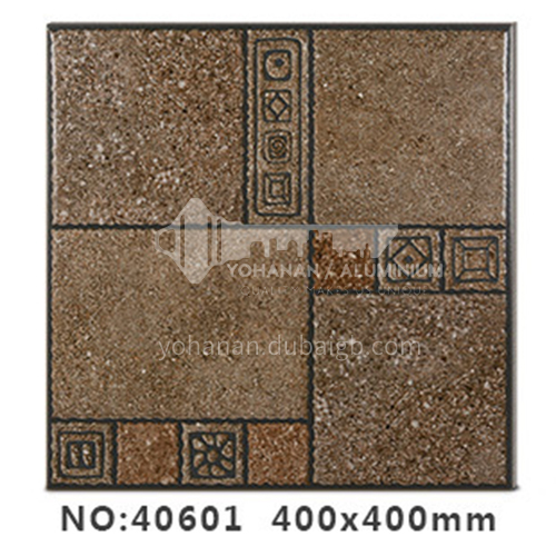 American country antique bricks imitation solid wood floor tiles rural style balcony courtyard   floor tiles-AWM40601 400x400mm