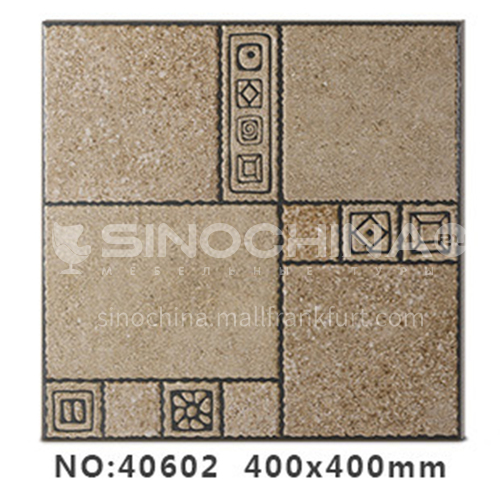 American country antique bricks imitation solid wood floor tiles rural style balcony courtyard   floor tiles-AWM40602 400x400mm