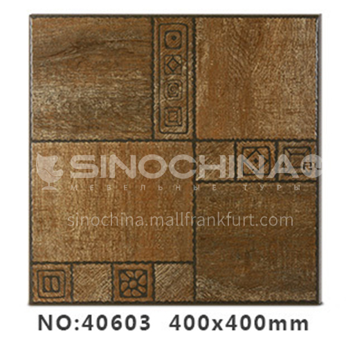 American country antique bricks imitation solid wood floor tiles rural style balcony courtyard   floor tiles-AWM40603 400x400mm