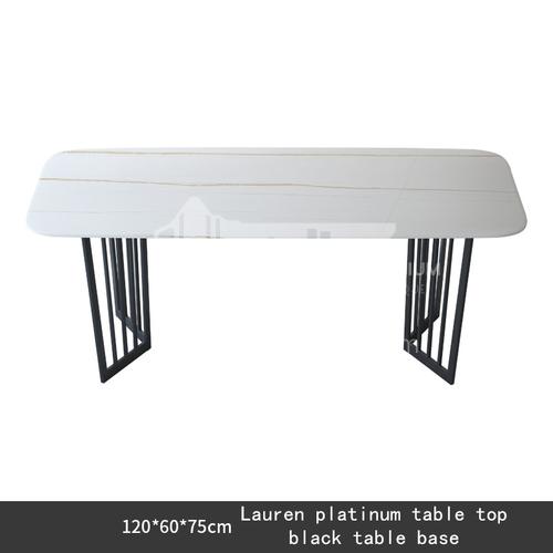 Italian minimalist rock board dining table, white gold countertop, black table legs