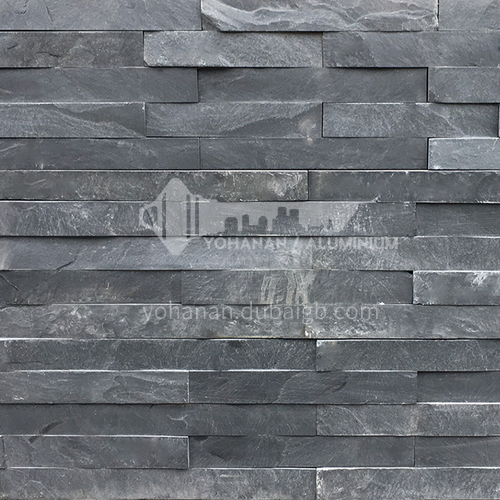 Cultural stone background wall natural stone mosaic wall brick outdoor villa outer wall brick running stone TV background wall-AWM-Black plate 150mm*600mm
