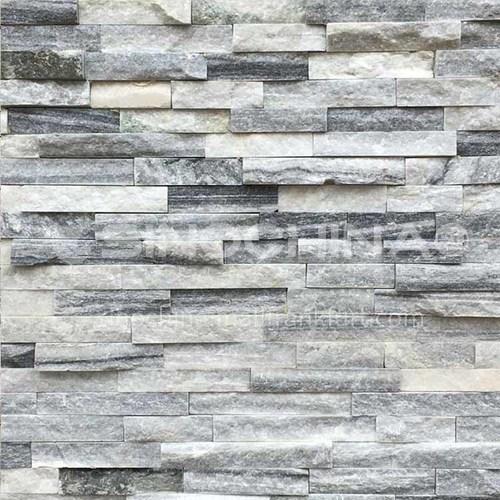 Cultural stone background wall natural stone mosaic wall brick outdoor villa outer wall brick running stone TV background wall-AWM-Cloud grey metal bar 150mm*600mm