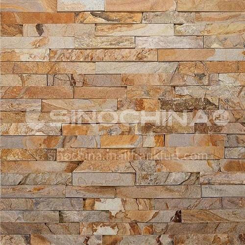 Cultural stone background wall natural stone mosaic wall brick outdoor villa outer wall brick running stone TV background wall-AWM-Gold wood grain 150mm*600mm