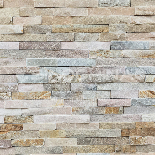Cultural stone background wall natural stone mosaic wall brick outdoor villa outer wall brick running stone TV background wall-AWM-Miscellaneous wood grain 150mm*600mm