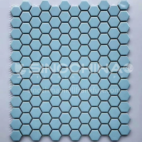 Black and white plum blossom hexagonal mosaic tiles kitchen bathroom floor tiles-ADE Mosaic hexagonal tiles(FIGURE 22) 230×230mm