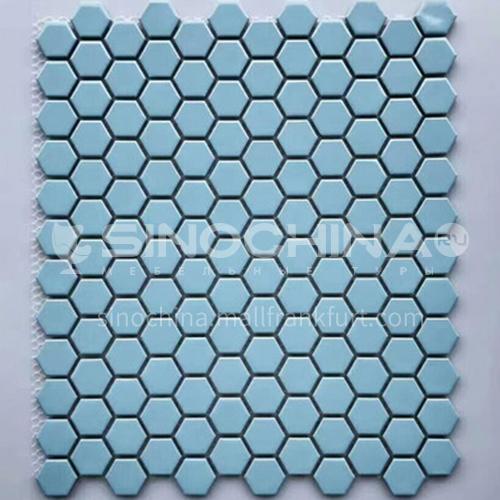 Black and white plum blossom hexagonal mosaic tiles kitchen bathroom floor tiles-ADE Mosaic hexagonal tiles(FIGURE 22) 230×230mm