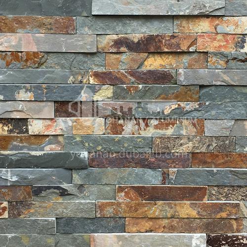 Cultural stone background wall natural stone mosaic wall brick outdoor villa outer wall brick running stone TV background wall-AWM-Powder crystal 150*600mm