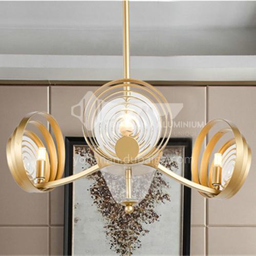American chandelier living room atmospheric metal glass bedroom lamp post modern creative dining room lamp-WX-G9007