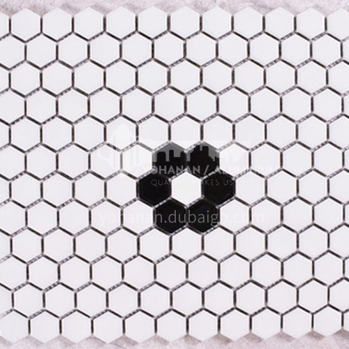 Black and white plum blossom hexagonal mosaic tiles kitchen bathroom floor tiles-ADE   Mosaic hexagonal tiles(FIGURE 2) 230×230mm