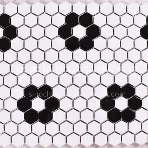 Black and white plum blossom hexagonal mosaic tiles kitchen bathroom floor tiles-ADE   Mosaic hexagonal tiles(FIGURE 3)