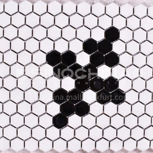 Black and white plum blossom hexagonal mosaic tiles kitchen bathroom floor tiles-ADE Mosaic hexagonal tiles(FIGURE 1) 230×230mm