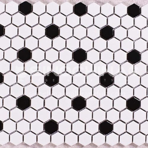 Black and white plum blossom hexagonal mosaic tiles kitchen bathroom floor tiles-ADE Mosaic hexagonal tiles(FIGURE 12) 230×230mm