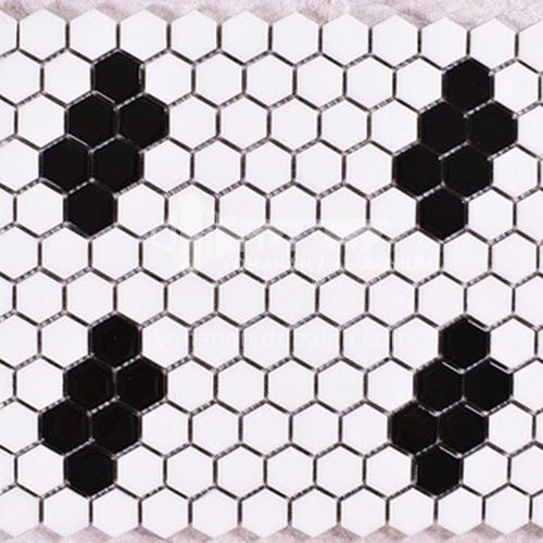Black and white plum blossom hexagonal mosaic tiles kitchen bathroom floor tiles-ADE Mosaic hexagonal tiles(FIGURE 11) 230×230mm