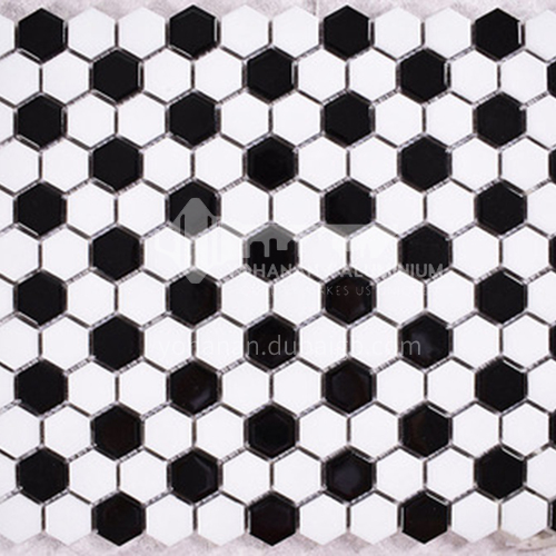 Black and white plum blossom hexagonal mosaic tiles kitchen bathroom floor tiles-ADE Mosaic hexagonal tiles(FIGURE 10) 230×230mm