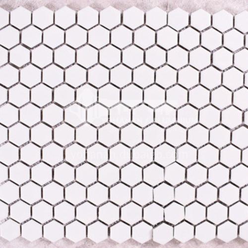 Black and white plum blossom hexagonal mosaic tiles kitchen bathroom floor tiles-ADE Mosaic hexagonal tiles(FIGURE 13) 230×230mm