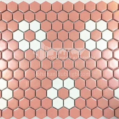 Black and white plum blossom hexagonal mosaic tiles kitchen bathroom floor tiles-ADE Mosaic hexagonal tiles(FIGURE 17) 230×230mm