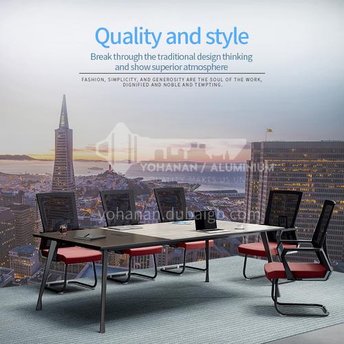 AB-ALM-2411A- Modern office furniture, desk, wood-based panel, steel frame, multi-person office staff desk