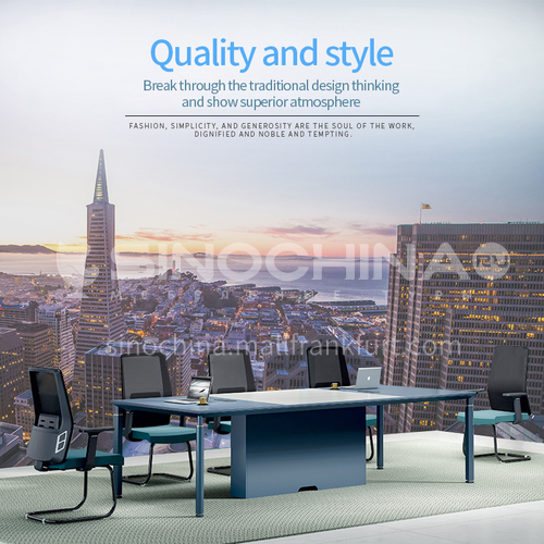 AB-AZM-2812B- Modern office furniture, conference table, healthy and environmentally friendly board, aluminum alloy frame, conference table