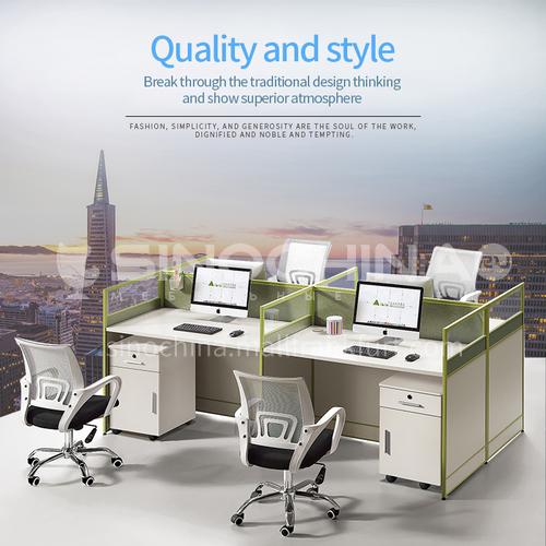 AB-B20-2412C- Modern office furniture, staff desks, healthy and environmentally friendly panels, aluminum alloy frames, glass screens, staff desks