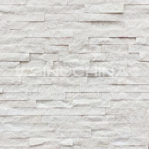 Cultural stone background wall natural stone mosaic wall brick outdoor villa exterior wall brick water stone TV background wall-AWM-white crystal 150mm*600mm