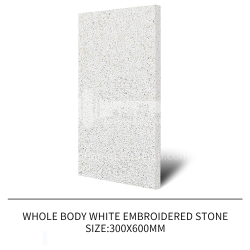 Courtyard floor tiles Square outdoor non-slip anti-freeze floor tiles Thickened rural villa quartz tiles-JLS White embroidered stone 300×600mm