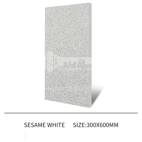 Courtyard floor tiles Square outdoor non-slip anti-freeze floor tiles Thickened rural villa quartz tiles-JLS Sesame White 300×600mm