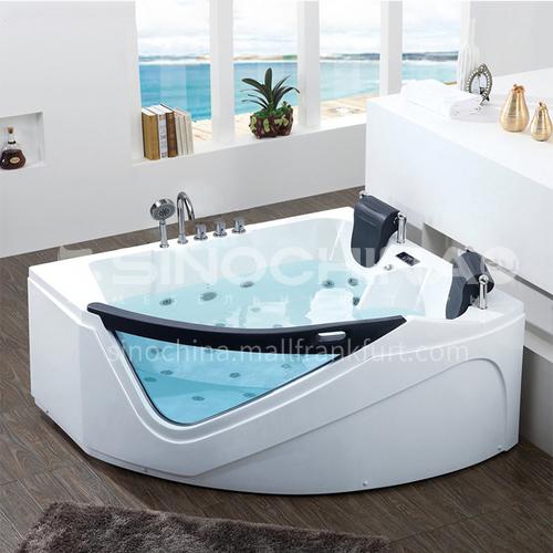 Acrylic corner surfing jacuzzi bathtub against the wall home triangular bathroom soaking bathtub AO-6081