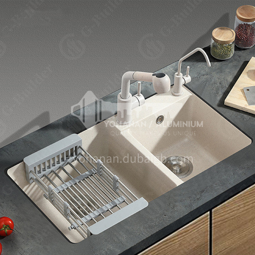 Oat-colored quartz sink double sink double sink kitchen dish basin double basin YMB002