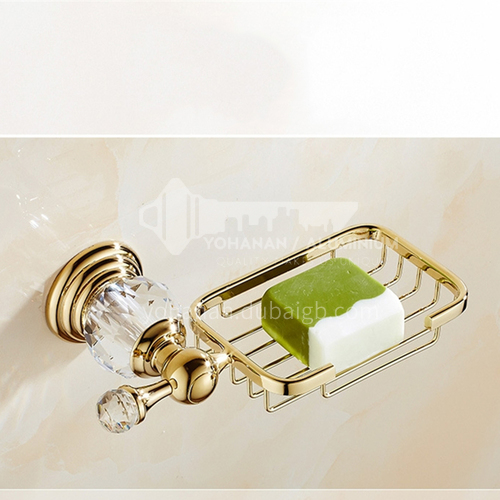 European classical stainless steel gold-plated crystal soap net80107SJ