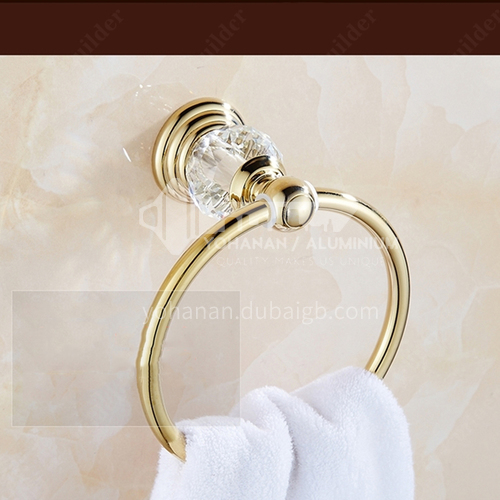 Bathroom and toilet fashion simple crystal series copper towel ring