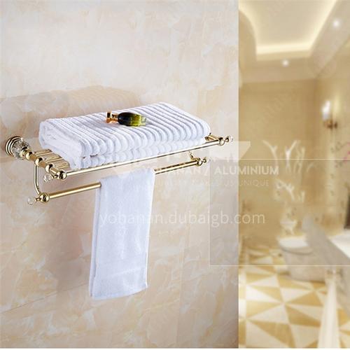 Bathroom European style copper double towel rack