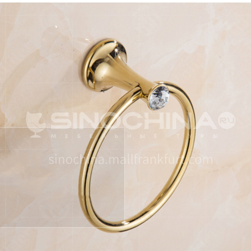 Bathroom and toilet, European crystal, copper towel ring
