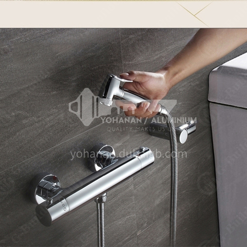 Bathroom intelligent thermostatic shower set household copper spray gun shower