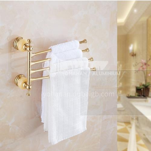 Bathroom rotatable four-bar towel rack jade series
