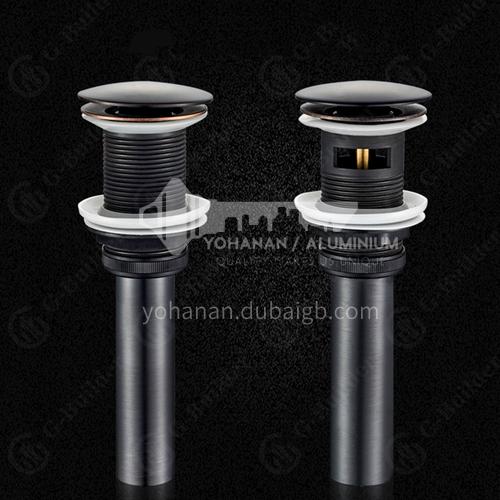 Black basin bouncing drainer European style copper basin wash basin glass basin push-on drain fittings HY02