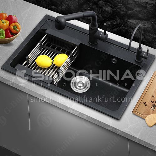 Black color quartz sink double sink kitchen dish basin double basin HS001