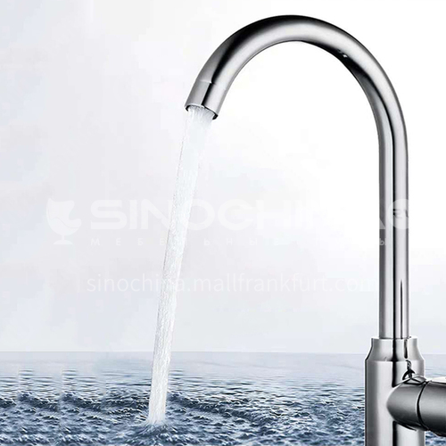 304 stainless steel electroplating aggravated kitchen faucet with ball universal turning, increasing thickening high foot pass 10424V