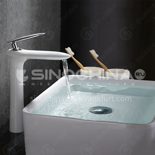 Above counter basin white hot and cold full copper faucet Bathroom washbasin basin bathroom faucet