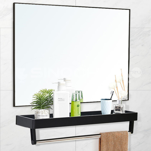 Aluminum alloy bathroom mirror with shelf, bathroom mirror hanging on the wall without perforation, wall-mounted square mirror