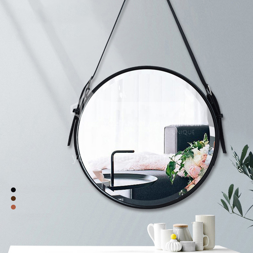 Bathroom mirrors, hotel decorative leather hanging mirrors, round wall-mounted mirrors, bathroom vanity mirrors
