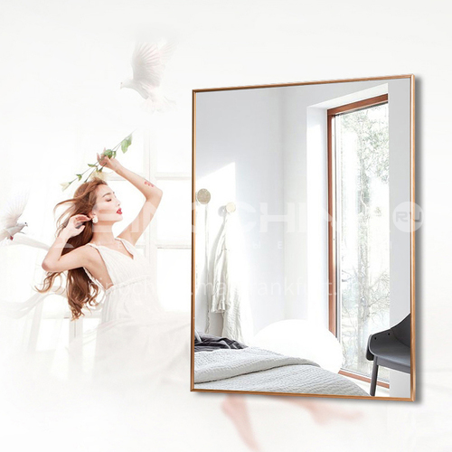 Aluminum alloy bathroom mirror, modern minimalist bathroom mirror, wall-mounted waterproof vanity mirror, bathroom mirror with frame