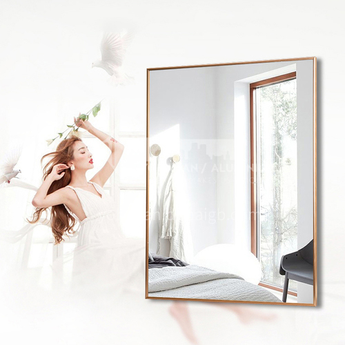 Aluminum alloy bathroom mirror, modern minimalist bathroom mirror, wall-mounted waterproof vanity mirror, bathroom mirror with frame