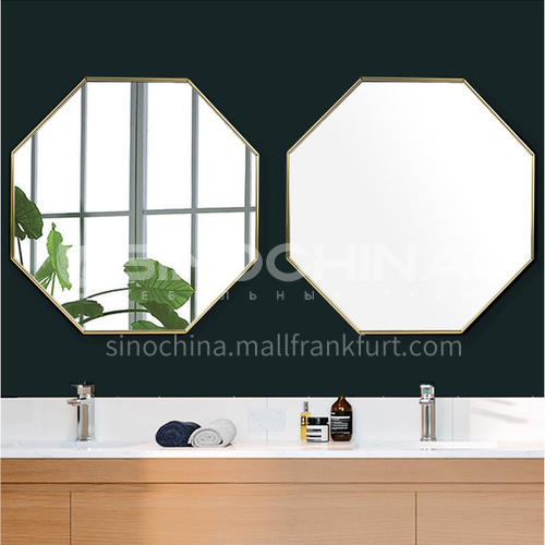Aluminum alloy bathroom mirror, light luxury gold octagonal, wall-mounted makeup mirror, hallway decoration creative modeling, bathroom mirror