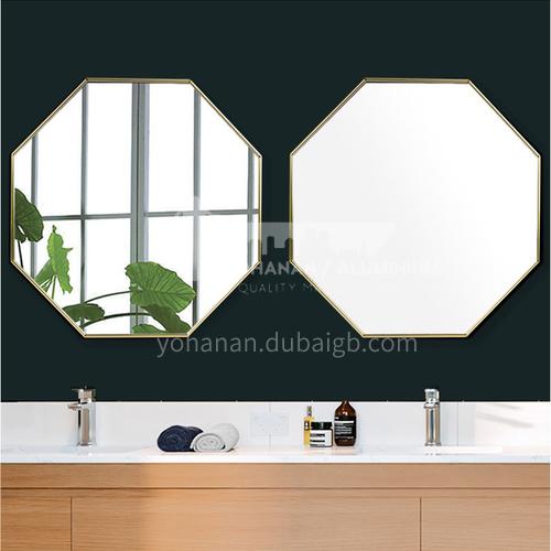 Aluminum alloy bathroom mirror, light luxury gold octagonal, wall-mounted makeup mirror, hallway decoration creative modeling, bathroom mirror