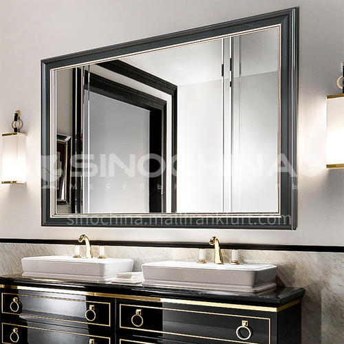 Bathroom mirror retro American European style bathroom cabinet mirror Wall-mounted bathroom vanity mirror can be customized