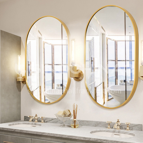 Aluminum Nordic bathroom mirror, bathroom mirror, wall-mounted golden oval mirror, dressing entrance mirror